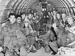 British paratroopers inside one of the C-47 transport aircraft, September 1944