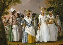 Free Women of Color with their Children and Servants, oil painting by Agostino Brunias, Dominica, c. 1764–1796.