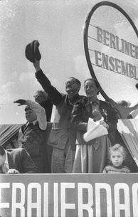 Brecht and Weigel on the roof of the Berliner Ensemble during the International Workers' Day demonstrations in 1954
