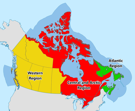 Map showing operating regions of the Canadian Coast Guard.