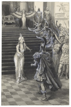 A drawing by Faulkner of Cleopatra greeting Antony