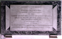 "Monument in Pilton Church to Col. Henry II Beavis (1736–1813), ""Commandant, North Devon Regiment of Local Militia"""