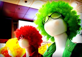 Colourful wigs for costume parties