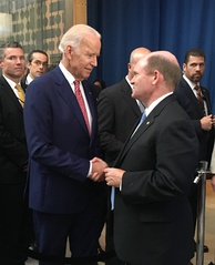 Delaware Senator Chris Coons with Vice President Joe Biden in 2016