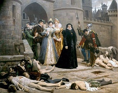 One morning at the gates of the Louvre, 19th-century painting by Édouard Debat-Ponsan. Catherine de' Medici is in black. The scene from Dubois (above) re-imagined.