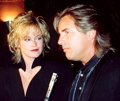 Griffith with then-husband Don Johnson at the APLA benefit in September 1990; she and Johnson appeared in several films together in the 1990s