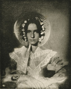 One of the oldest photographic portraits known, 1839 or 1840,[24] made by John William Draper of his sister, Dorothy Catherine Draper