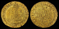 "Triple Unite gold coin of 1644: the Latin legend translates as ""The religion of the Protestants, the laws of England and the liberty of Parliament. Let God arise and His enemies be scattered."""