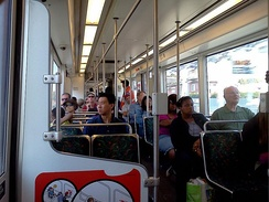 Interior of a westbound train, first day of operation to Culver City