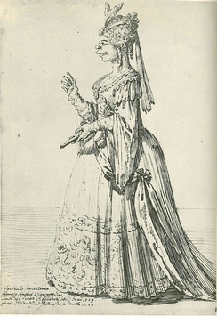 A caricature of Farinelli in a female role, by Pier Leone Ghezzi 1724.