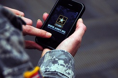 The official US Army iPhone app presents the service's technology news, updates and media in a single place