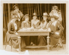Founding members of Stage Women's War Relief. From left to right: Mary Kirkpatrick, Dorothy Donnelly, Jessie Bonstelle, Rachel Crothers, Elizabeth Tyree, May Budeley, and Eleanor Gates.