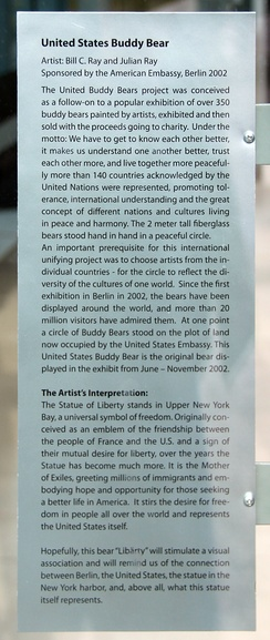 Plaque with regard to the exhibitions of the United Buddy Bears in 2002 and 2003, then still undeveloped on the grounds of the U.S. Embassy