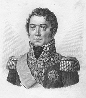 Black and white print of a round-faced man with curly hair. He wears the uniform of a high ranking general of the Napoleonic era, with epaulettes, a high collar, and lots of gold embroidery on the lapels.