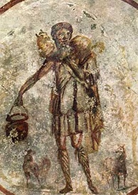 Good Shepherd fresco from the Catacombs of San Callisto under the care of the Pontifical Commission for Sacred Archeology