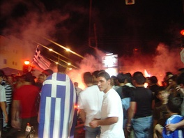 Greeks celebrating the victory in the 2004 European Championship.