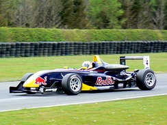 Alguersuari driving for Carlin Motorsport at the Croft round of the 2008 British Formula Three season
