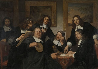 The Haarlem Painter's Guild in 1675, by  Jan de Bray, whose self-portrait is the second from the left