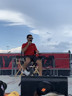 Larson on the stage during the Fanzone at the Daytona International Speedway on July 5, 2019.