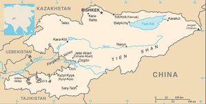 Map of Kyrgyzstan showing Issyk-Kul in the north