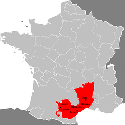 The gouvernement of Languedoc (including Gévaudan, Velay, and Vivarais) among the former gouvernements of France.