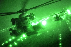 MH-53 Pave Lows fly over Iraq on their last combat missions in September 2008, before their retirement.