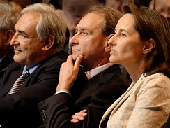 From left to right: Dominique Strauss-Kahn, Bertrand Delanoë and Ségolène Royal sitting in the front row at a meeting held on 6 February 2007 by the PS at the Carpentier Hall in Paris