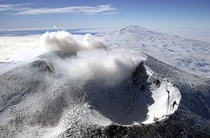 Aerial view of Mount Erebus craters