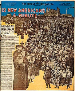 The Sunday magazine of the New York World appealed to Immigrants with this 1906 cover page celebrating their arrival at Ellis Island.