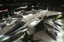 An overhead view of the fourth building aircraft at the National Museum of the United States Air Force including the North American XB-70 Valkyrie
