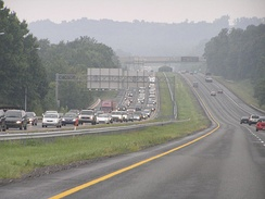 Traveling south on I-83 in Baltimore County, with congestion on the northbound side