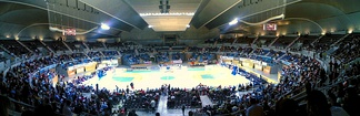 Santander Sports Palace: a basketball game featuring the local team, the Cantabria Lobos (wolves).