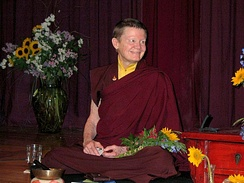 Ani Pema Chodron, an American woman who was ordained as a bhikkhuni (a fully ordained Buddhist nun) in a lineage of Tibetan Buddhism in 1981. Pema Chödrön was the first American woman to be ordained as a Buddhist nun in the Tibetan Buddhist tradition.[35][36]