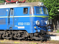 An example of a locomotive designation: E stands for electric locomotive and T stands for freight locomotive. Next two numbers (22) describe six axles, Co-Co, direct current, 3 kV. Next four numbers after dash are an inventory number.