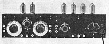 The first superheterodyne receiver built at Armstrong's Signal Corps laboratory in Paris during World War I. It is constructed in two sections, the mixer and local oscillator (left) and three IF amplification stages and a detector stage (right). The intermediate frequency was 75 kHz.