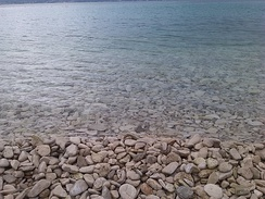 Rocky beach at Brač island (Croatia), in the Adriatic Sea, during the summer