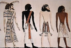 A Libyan, a Nubian, a Syrian, and an Egyptian, drawing by an unknown artist after a mural of the tomb of Seti I.