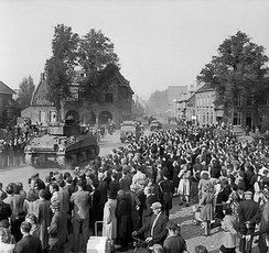British Sherman tanks liberate Valkenswaard during Operation Market Garden, September 1944.