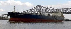 Oil tanker on the Lower Mississippi near the Port of New Orleans