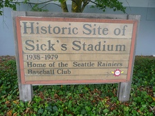 Sign outside Lowe's store in 2009, marking the site of Sick's Stadium