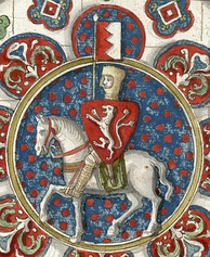 Simon de Montfort, in a stained glass window at Chartres Cathedral