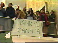 Americans display their gratitude for Canadian efforts during the Canadian Caper, a rescue mission of American diplomats during the November 1979–January 1981 Iran hostage crisis.