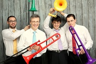 Quartet with plastic trombones