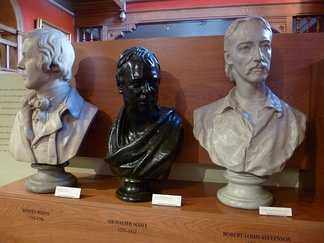 Three great men of Scottish literature: busts of Burns, Scott and Stevenson.