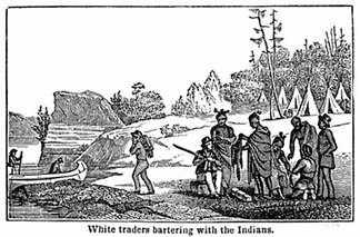 First nations trading furs for goods from fur traders .