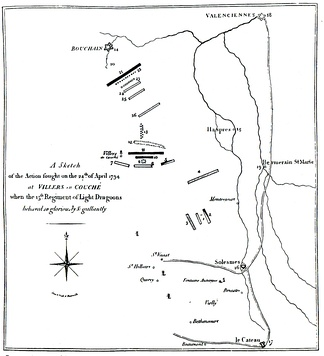 Contemporary map of the action at Villers-en-Cauchies. See file description for key to numbers