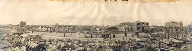 Regina's Warehouse District on 30 June 1912, shortly after the Regina Cyclone.