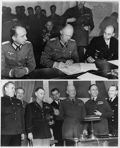 German surrender of 7 May 1945 in Reims. Top: German officers sign unconditional surrender in Reims. Bottom: Allied force leaders at the signing.