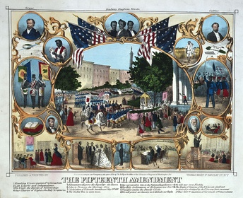 1870 print celebrating the passage of the Fifteenth Amendment in February 1870, and the post Civil War political empowerment of African Americans.