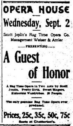 September 2, 1903 Advertising poster for A Guest of Honor by Scott Joplin